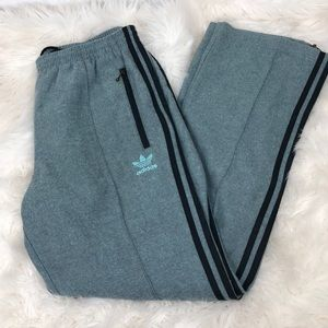 Teal tweed adidas track pants